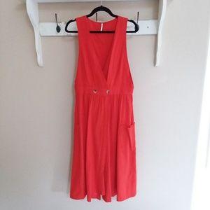 Free people orange wrap dress size large
